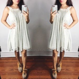 3/$10 Silk Pleated Sleeveless Shift Dress